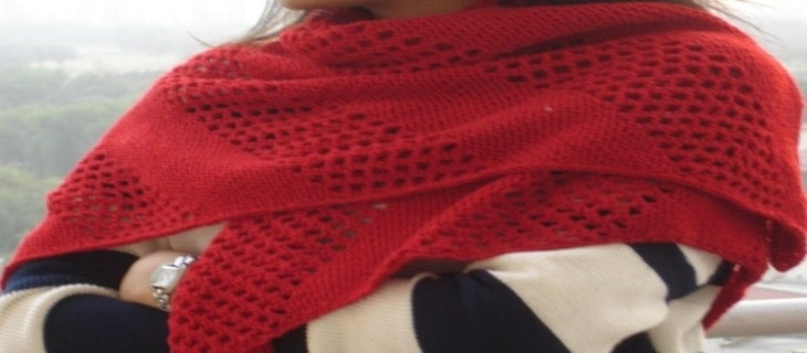 Triangle Shawl Red