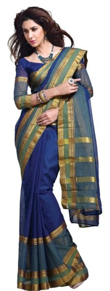 Pick a beautiful sari to impress your woman. You can even click on the picture to buy this stunning zari work sari.
