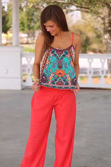 how to wear palazzos pants with tank tops spagettis