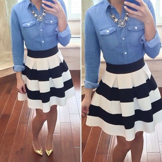 how to wear skirts with shirts