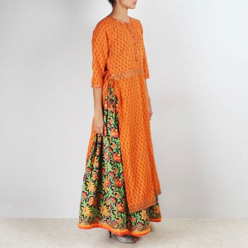 how to wear kurta with skirts