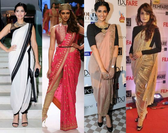 different ways to tie a saree