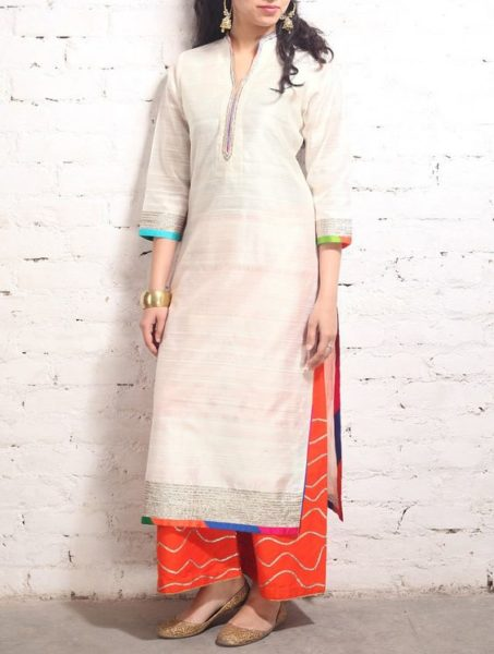 Simple is the new chic. Pair a white kurta with a bright palazzo for a subtle ethnic look. Source - Jaypore.com