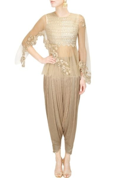 Dhoti Pants and Cape making a supreme style statement. Source - Perniaspopupshop.com