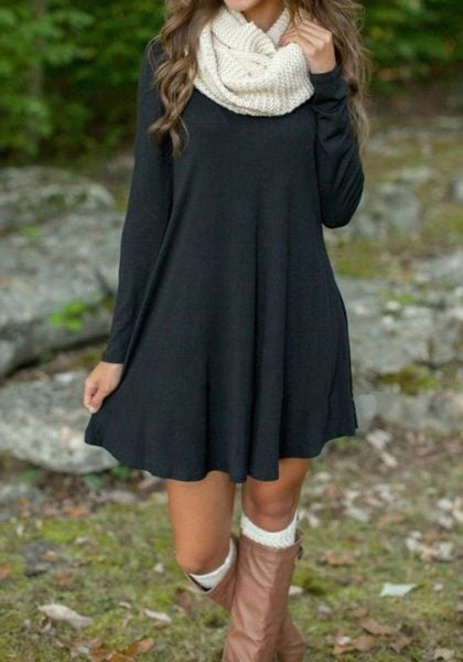 Who says short dresses aren't for winters? Crushing over this look.