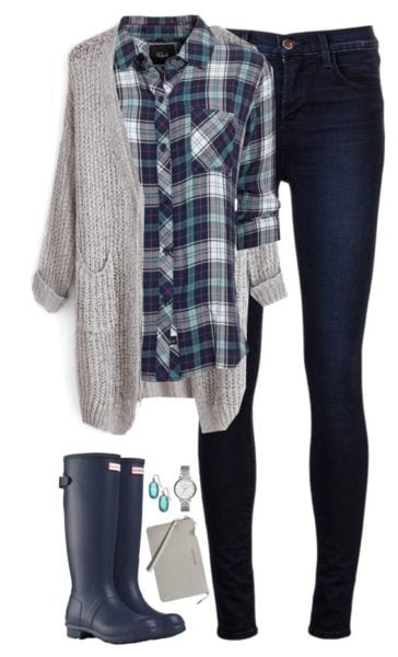 This winter layer it up with a basic plaid shirt.