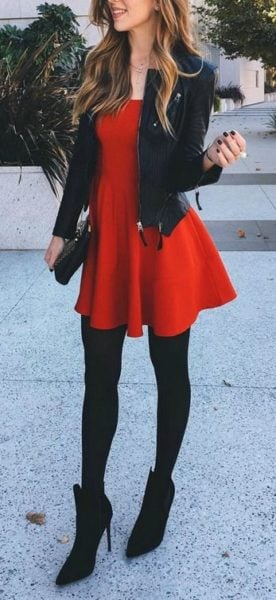 Teaming up a leather jacket with a skater dress gets a thumbs up! Source - lulus.com