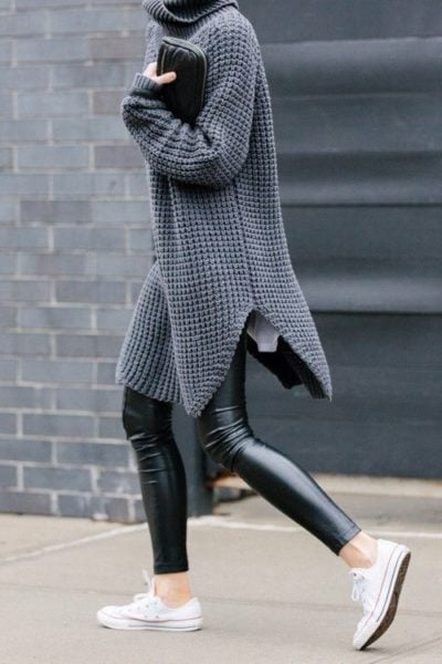 Gorgeous leather pants adding a stark contrast and so much drama. Source - sortra.com