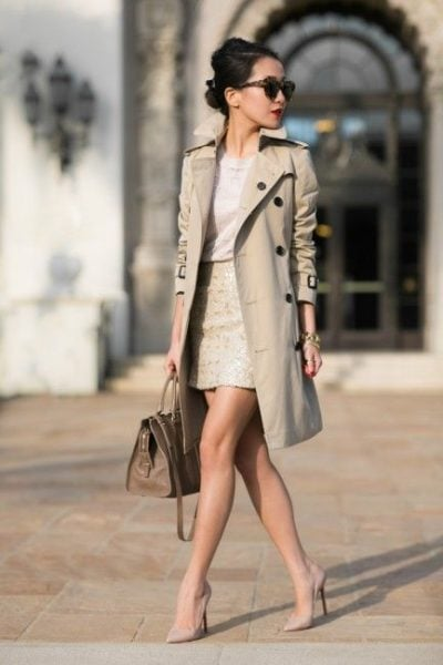 Throw a trench coat on to add a glam element to your formal look. Source - wendyslookbook.com