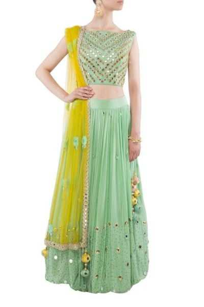 We know its winter, but how can we overlook this gorgeous mint lehnga... Source - onceuponatrunk.com
