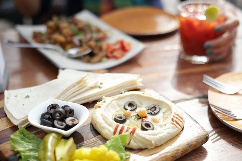 Pita bread with hummus, my favourite.