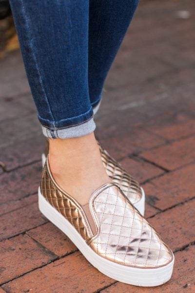 Jazz it all up with metallic sneakers! Source - The red dress boutique