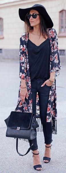 denims with kimono
