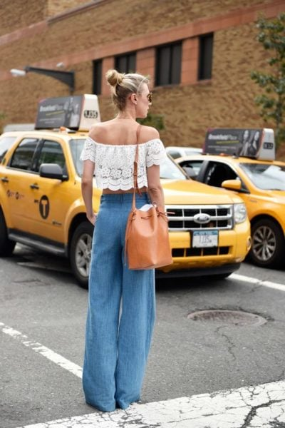 The heavenly match of powder blue hue and lace off shoulder top can never go wrong! Source - New York Magazine