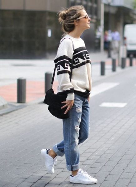 boyfriend jeans outfits fall