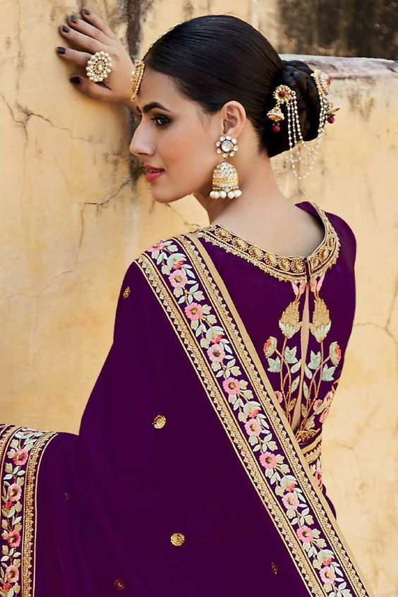 purple ethnic wear